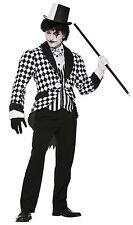 HARLEQUIN CLOWN TAILCOAT BLACK WHITE MEN'S HALLOWEEN FANCY DRESS COSTUME