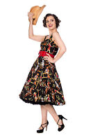 Black Retro Vintage Rockabilly Cowgirls Howdy Partner Flare Dress BANNED Apparel