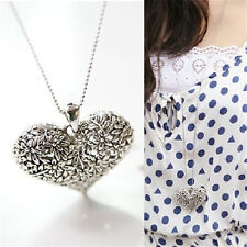 Womens Carved Silver Heart Flower Charm Pendant Vintage Long Chain Necklace Gift