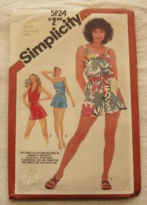 Vintage Romper Sewing Pattern*Simplicity 5124*Sz 8-12*UNCUT/FF*halter*straps*80s