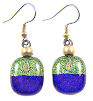 DICHROIC Glass EARRINGS Blue Purple Gold Yellow Lime Round Dangle Surgical 3/4""