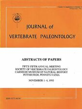 DGLib 1188: Society of Vertebrate Paleontology Abstracts 1995 SVP annual meeting