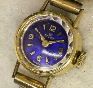 🔥Vintage ladies 1940s Rolex Tudor AWESOME BLUE TINT DIAL HiGrade Art Deco Watch