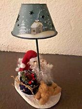 Primitive Country Christmas Crazy Mountain Style Santa/Sleigh Tealt Candle Lamp