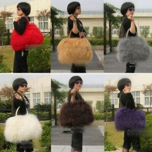 Woman Wool Fur Real Mongolian Lamb Fur Multi Color Options Handbag Shoulder Bag