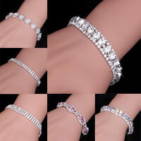 Wholesale Women Silver Crystal Rhinestone Bangle Bracelet Wedding Bridal Jewelry