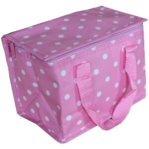 Womens Girls Folding Insulated Lunchbag Pink White Polka Dot Spot Design