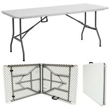 HEAVY DUTY WHITE 1.8M FOLDING TABLE 6FT FOOT CATERING CAMPING TRESTLE MARKET BBQ