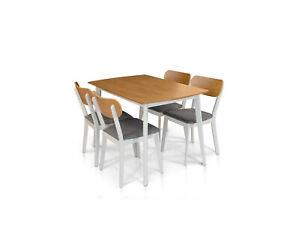 Table Impiallaciato Oak, with Base White Or Grey