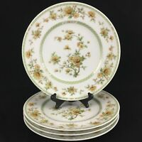 Set of 4 VTG Dinner Plates by Noritake China Amapola 2764 Yellow Floral Ireland