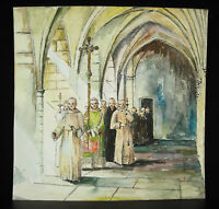 Watercolour Procession Religious IN The Cloister A Monastery Mens Church