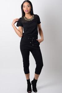Womens Jumpsuit Ladies Black Jersey Trousers Sheer mesh Jewellery Playsuit