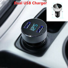 Silver Adapter Car Charger For iPhone Samsung Dual USB 3.1A Voltage LED Display