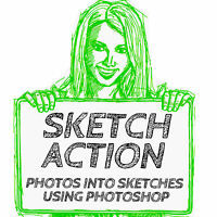 TURN DIGITAL PHOTOS TO SKETCHES WITH PHOTOSHOP ACTIONS ( ADOBE 7,CS2 to 6 & CC)