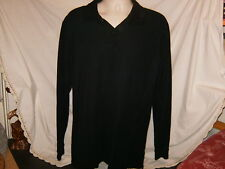 NEW L.L. BEAN Premium Double L Long Sleeve Polo Shirt M Black