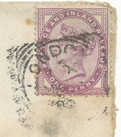 "2455 ""LONDON-E.""  Squared Circle Postmark on poor cover with QV 1 D lilac"
