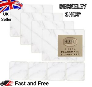 Marble Effect Set 4 Placemat +4 Coaster Table Mats Dining Coasters Tableware DIY