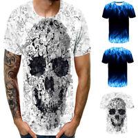 Men's Fashion 3D Print Short Sleeve Round Neck Summer Casual Tank Top Shirt