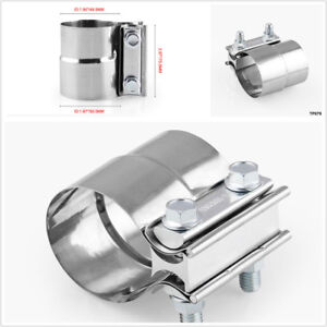 2.0'' Silver Stainless Butt Joint Band Car Exhaust Muffler Clamp Sleeve Coupler
