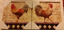"""2 RARE app. 12"""" x 12"""" KITCHEN WALL DECOR PICTURE, ROOSTER on canvas print"""