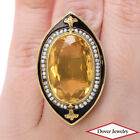 Vintage 16.20ct Citrine Seed Pearl Enamel 14K Gold Cocktail Ring 11.9 Grams NR