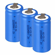 10PCS Blue Rechargeable Battery Sub C SC 1.2V 2200mAh Ni-Cd Batteries & Tap