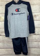 Champion 2pc Set Boys Size 10/12 Hooded Long Sleeve Shirt & Pants - Blue Gray