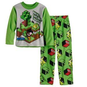 MINECRAFT Pajamas Size 6, 8, 10 12 Small Medium Large Boys Fleece Winter NEW NWT