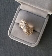 STERLING SILVER HUGE CZ PAVE RING N  925 SOLID