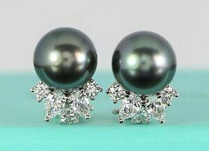 $14500 Tiffany & Co Victoria Platinum Pear Round Diamond Tahitian Pearl Earrings