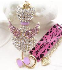 Betsey Johnson Cat Kitty Angel Wings Crystal Gold Enamel  Pretty Pink