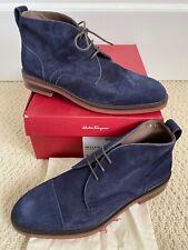 NIB Salvatore Ferragamo Boyer Marine Navy Blue Suede Lace Up Boots Sz 8 EE $850
