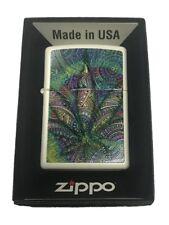 Zippo Custom Lighter Paisley Weed Pot Leaf Marijuana Double Sided Design New USA
