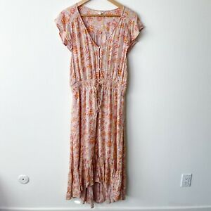 Lucky Brand peach pink yellow paisley maxi boho sundress dress women size XL
