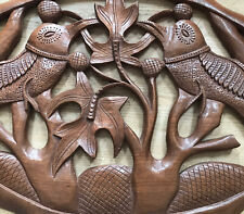 More details for vintage 1940's wood hand carved tiki bar wall art hanging tropical birds foliage