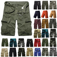 Mens Army Military Cargo Shorts Combat Travel Casual Pants Long Trousers Bottoms