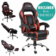 Gtforce Pace Reclining Sports Racing Gaming Office Desk PC Car Leather Chair Red