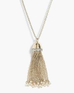 J. Crew tassel pearl Gold Tone Adjustable Pendant Necklace Long