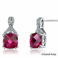 Round 5mm Created Red Ruby 14k White Gold Plated Earrings With Gift Box