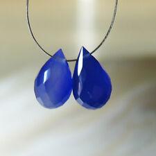 2 dunkel blaue chalcedon briolette  facc. tropfen  perlen  ca. 12-12,5x6,5-7mm