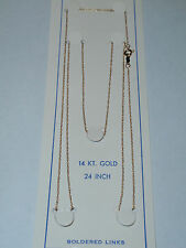 """14K ROPE CHAIN 24"""" inch - .6mm Wide - SOLID YELLOW GOLD - NEW"""
