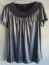 AUTH STYLE & CO SHORT SLEEVE BLING GLITTERY TOP NEW CHARCOAL GRAY NEW SZ S