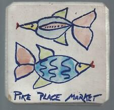 *SEATTLE WA *PIKE PLACE MARKET *TILE *FISH *LORNA *WASHINGTON STATE RARE POTTERY