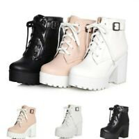 Retro Women High Heel Platform Ankle Boots Lace Up Buckle Strap Shoes 41/42/43 B