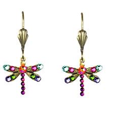 NEW ANNE KOPLIK RAINBOW SWAROVSKI CRYSTAL DRAGONFLY EARRINGS ~~MADE IN USA~~