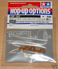 Tamiya 53161 4mm Anodized Aluminum Flange Lock Nuts (Gold, 5 Pcs) (TT01/TT02)