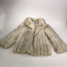 Saga Real Blue Fox Heavy Off White Silver Fur Coat Size S Vintage