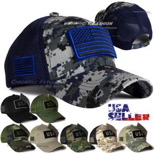Baseball Cap Trucker Army Hat USA American Flag Tactical Military Adjustable Men
