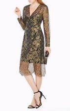NWT BCBG MAXAZRIA Celestina Sheer Metallic Lace Dress Gold Black Size 4 XS