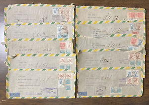 Brazil Ten 1945 Registered Airmail 'Free From Federal Censorship' Covers